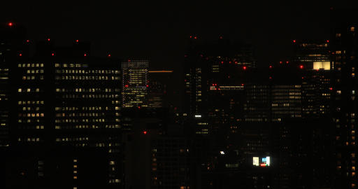 A night urban cityscape in Shinagawa Tokyo high angle long shot ビデオ