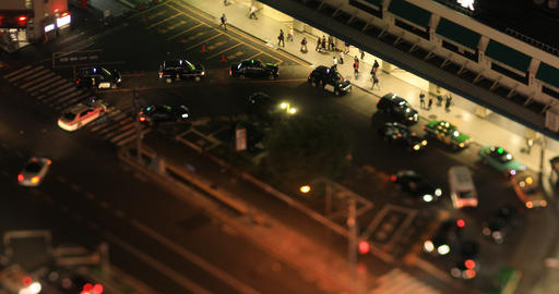 A night urban cityscape in Shinagawa Tokyo high angle tilt shift ビデオ