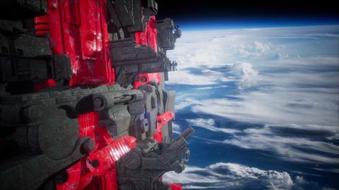 Spaceships in space 3D rendering ビデオ
