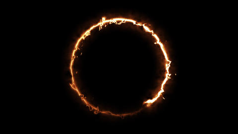 Computer generated fire ring on black background. 3d rendering of abstract fire ビデオ