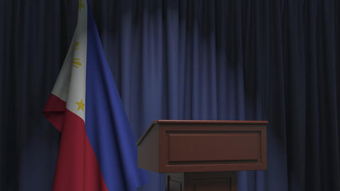 Flag of Philippines and speaker podium tribune. Political event or statement Live Action