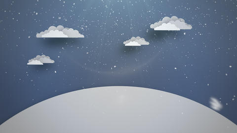 Animated close up blue sky, clouds and snowing landscape Animation