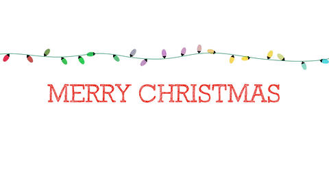 Animated closeup Merry Christmas text, colorful garland on white background Animation
