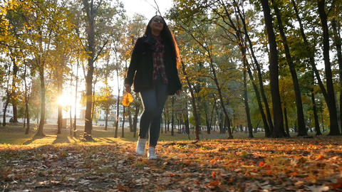 Beautiful girl walks in the autumn park. Yellow leaves in the hand. Slow motion ビデオ