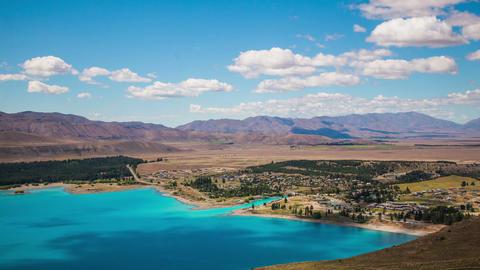 Time Lapse - Ariel View of Lake Tekapo with Mountain Range Footage