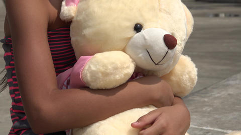Teddy Bear And Young Child stock footage