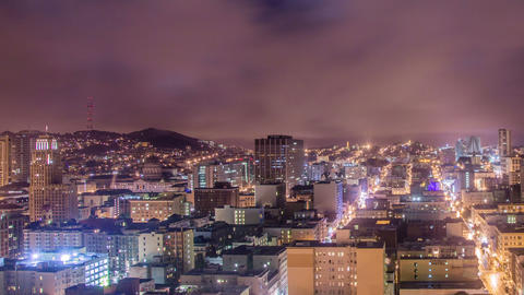 Time lapse - Downtown San Francisco at Night Footage