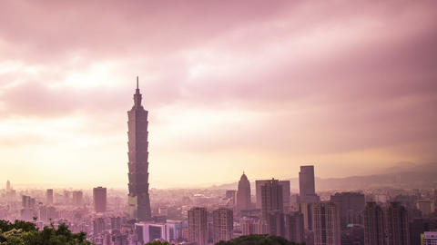 Time Lapse - Taipei City Skyline with Cloudscape at Evening Footage