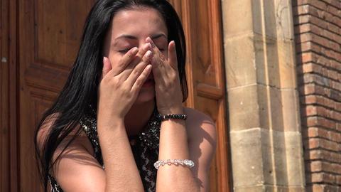 Young Hispanic Woman Crying Live Action