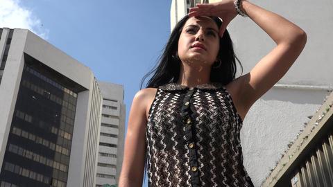Woman Staring in Urban Area Footage