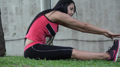 Fit Young Woman Stretching Live Action