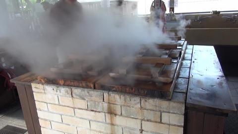 Steaming from geothermal natural hot springs in Beppu Japan Footage