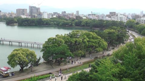 walking, running in the park on weekend (Ohori park Fukuoka, Japan) Footage