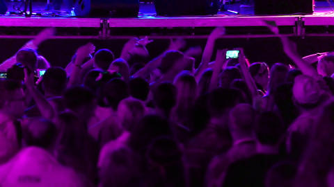 Spectators at a Concert Waving their Hands Footage