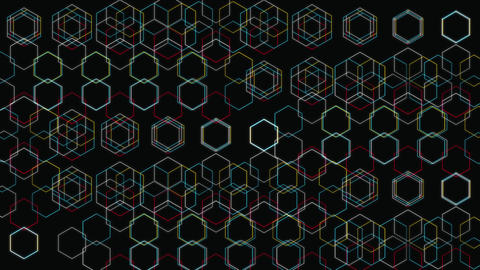 Abstract Motion Background Loop With Hexagons CG動画