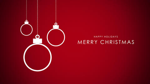 Animated closeup Merry Christmas text, white balls on red background Animation