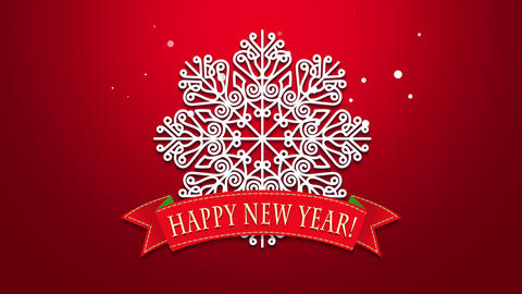 Animated closeup Happy New Year text, white snowflakes on red background Animation