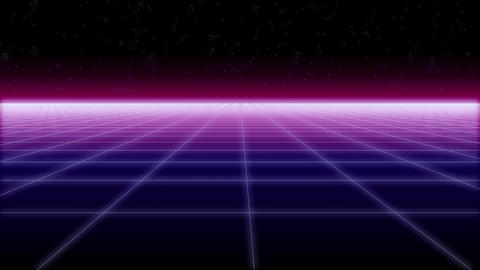 synthwave net horizontal Retro Background 3d Footage