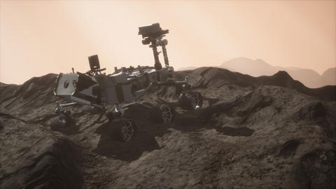 Curiosity Mars Rover exploring the surface of red planet ビデオ