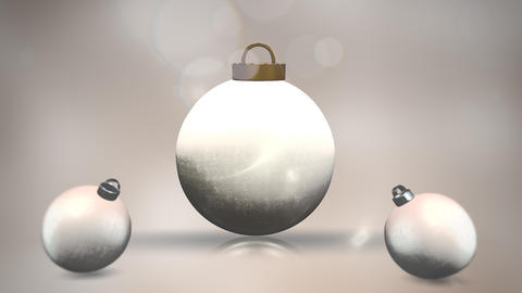 Animated closeup motion white balls and snowflakes on white background Animation
