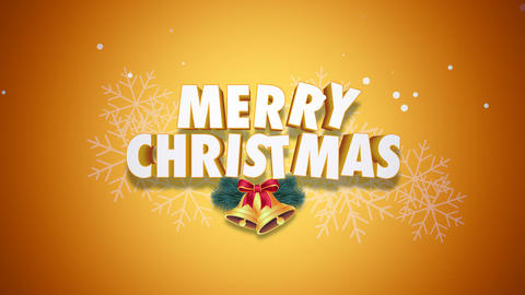 Animated closeup Merry Christmas text and bells on yellow background Animation