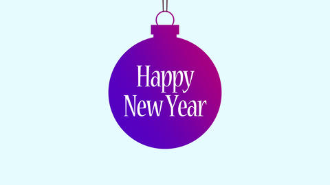 Animated closeup Happy New Year text, purple ball with into text Animation