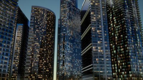 City Skyscrapers at Night ビデオ
