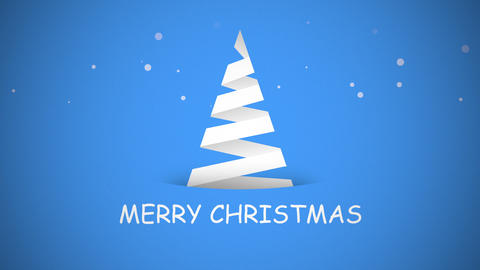 Animated closeup Merry Christmas text, white Christmas tree on blue background Animation