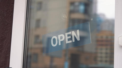 Welcome open sign on door of coffee cafe shop. open sign at the shop door. open Live Action