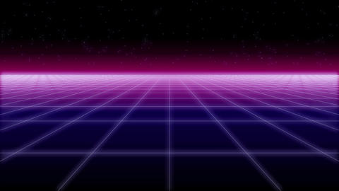 synthwave net and stars Retro Background 3d render ビデオ