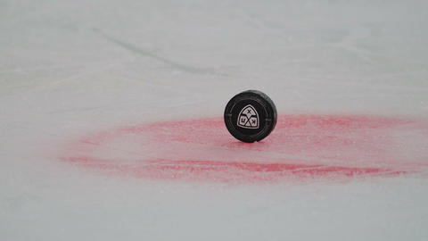 hockey puck with logo in center of arena on stadium closeup ビデオ