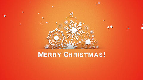 Animated closeup Merry Christmas text, white snowflakes on orange background Animation