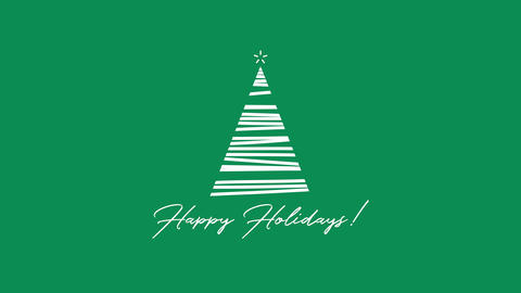 Animated closeup Happy Holidays text, white Christmas tree on green background Animation