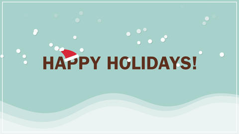 Animated closeup Happy Holidays text on snow background Animation