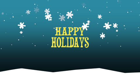Animated close up Happy Holidays text on snow background Animation