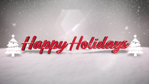 Animated closeup Happy Holidays text, mountains, forest and snowing landscape Animation