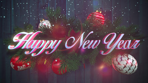 Animated closeup Happy New Year text, white snowflakes, green Christmas branches on wood background Animation