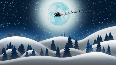 Santa Clause and Reindeers Sleighing Through Christmas Night Animation