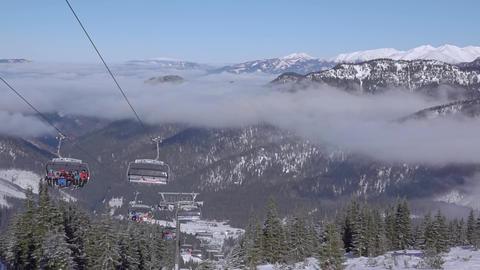 Chair Ski Lift and Light Fog. Slow Motion ビデオ