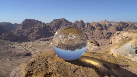 Abstract mountains landscape background with crystal ball, wonderful nature view Footage