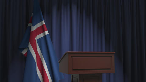 Flag of Iceland and speaker podium tribune. Political event or statement related Live Action