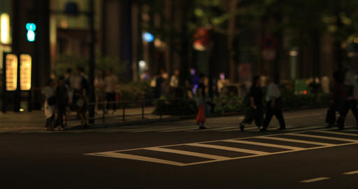 A night cityscape of walking people at the business town in Tokyo Footage
