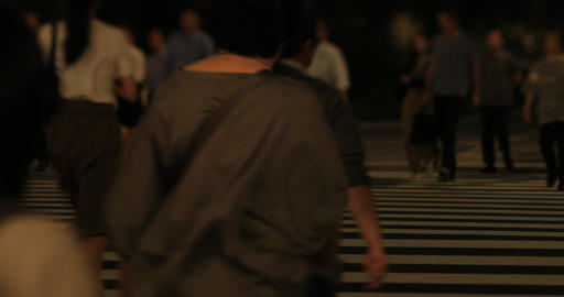 A night cityscape of walking people at the business town in Tokyo ビデオ