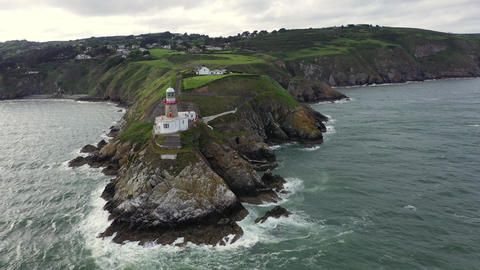 Aerial view of Baily Lighthouse, Howth North Dublin GIF
