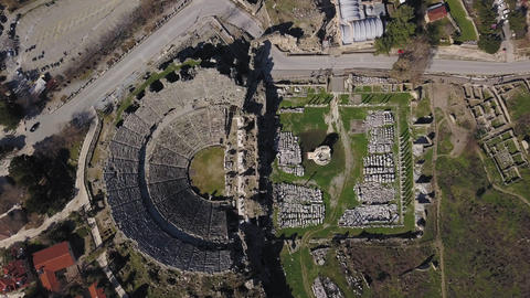 Aerial footage of the Antique Theater. Side, Turkey ビデオ