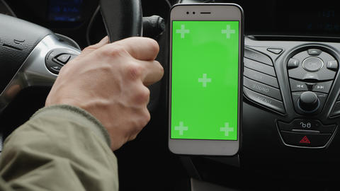 Using a green screen smartphone in a car Footage