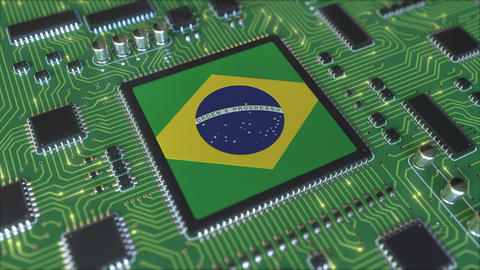 National flag of Brazil on the operating chipset. Brazilian information Live Action