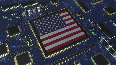 Details of flag of the USA on the operating chipset. American information Live Action