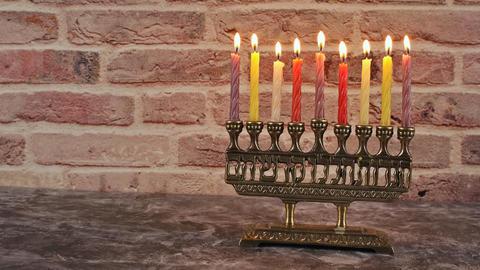Jewish holiday, Holiday symbol Hanukkah Brightly Glowing Hanukkah Menorah Live Action