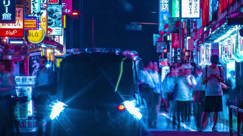 A night timelapse of the neon street at the downtown in Shinjuku Tokyo long shot Footage